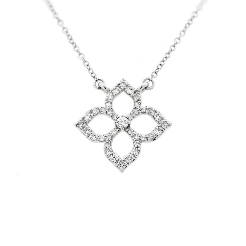 White & Yellow Gold Diamond 4-Petal Lotus Flower Pendant Necklace