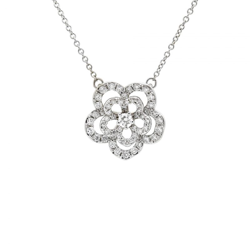 White Gold Sakura Pendant Necklace