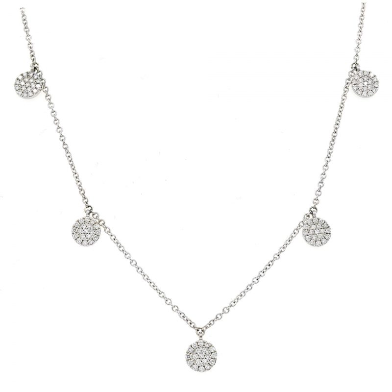 White Gold 5-Station Diamond Disk Necklace