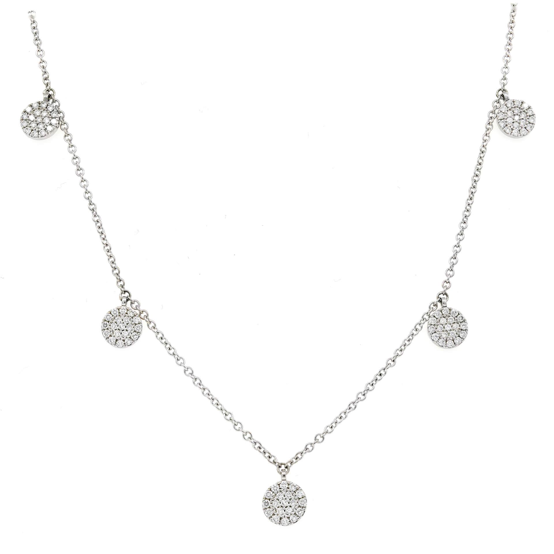 White Gold 5-Station Diamond Disk Necklace