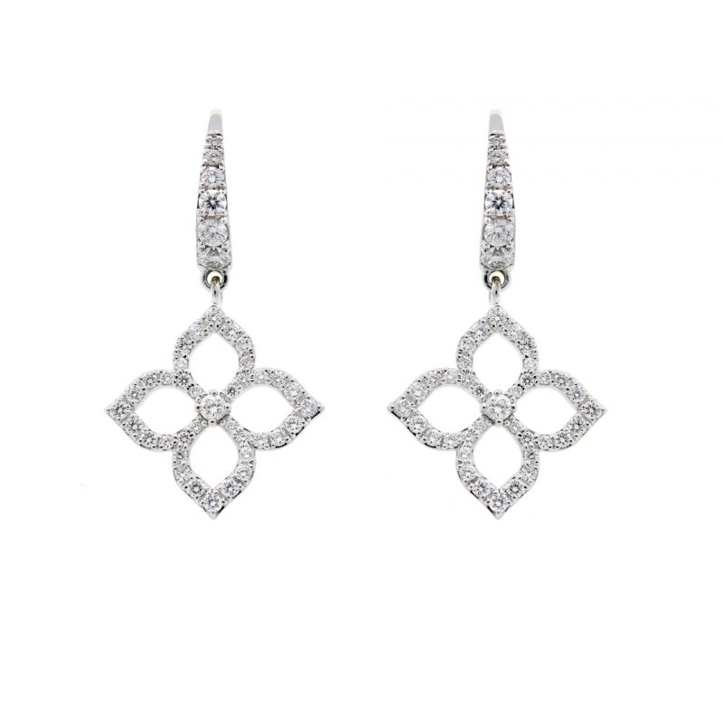 White Gold Diamond 4-Petal Flower Earrings