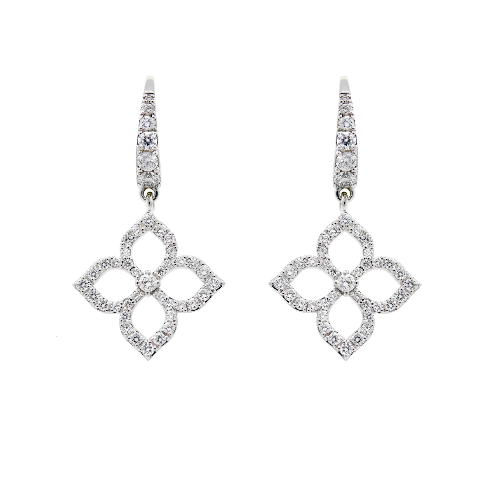 White Gold Diamond 4-Petal Flower Earrings