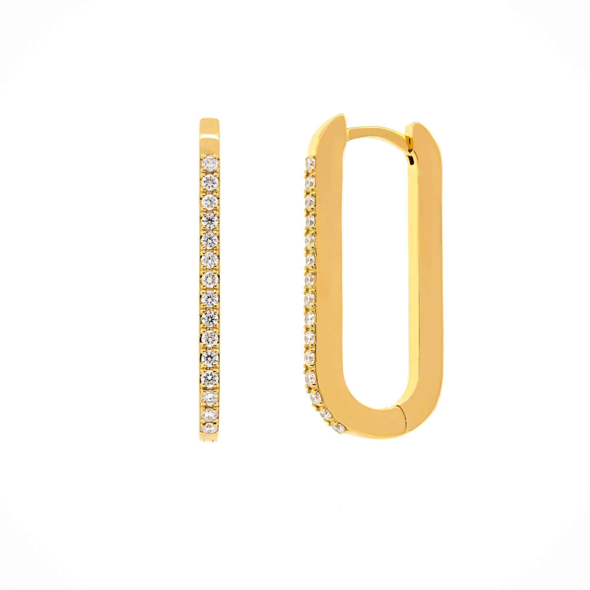Yellow Gold Diamond Ovate Earrings