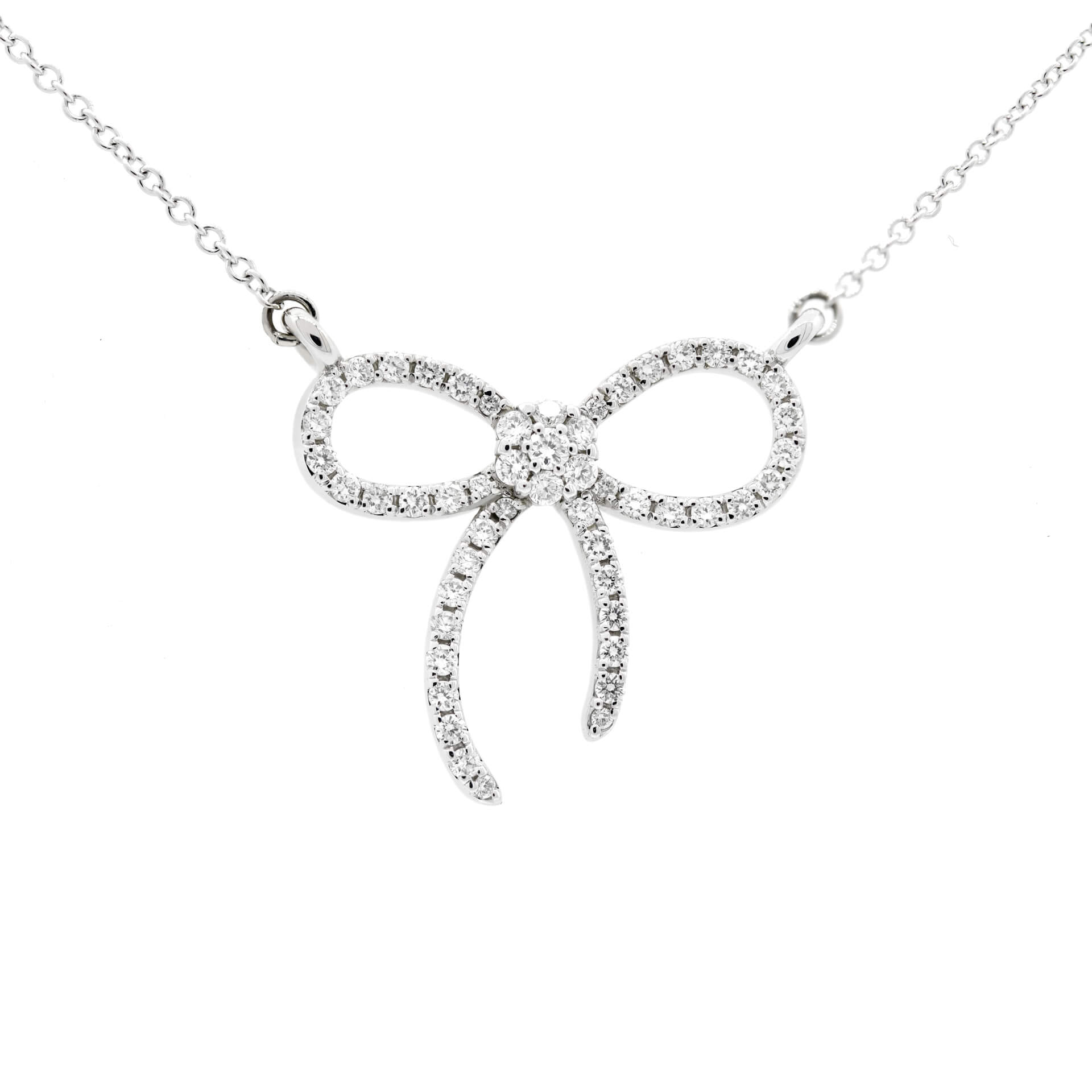 White Gold Bow Pendant Necklace