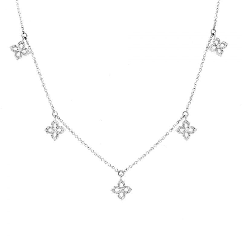 White Gold Diamond 4-Petal Lotus Flower Necklace