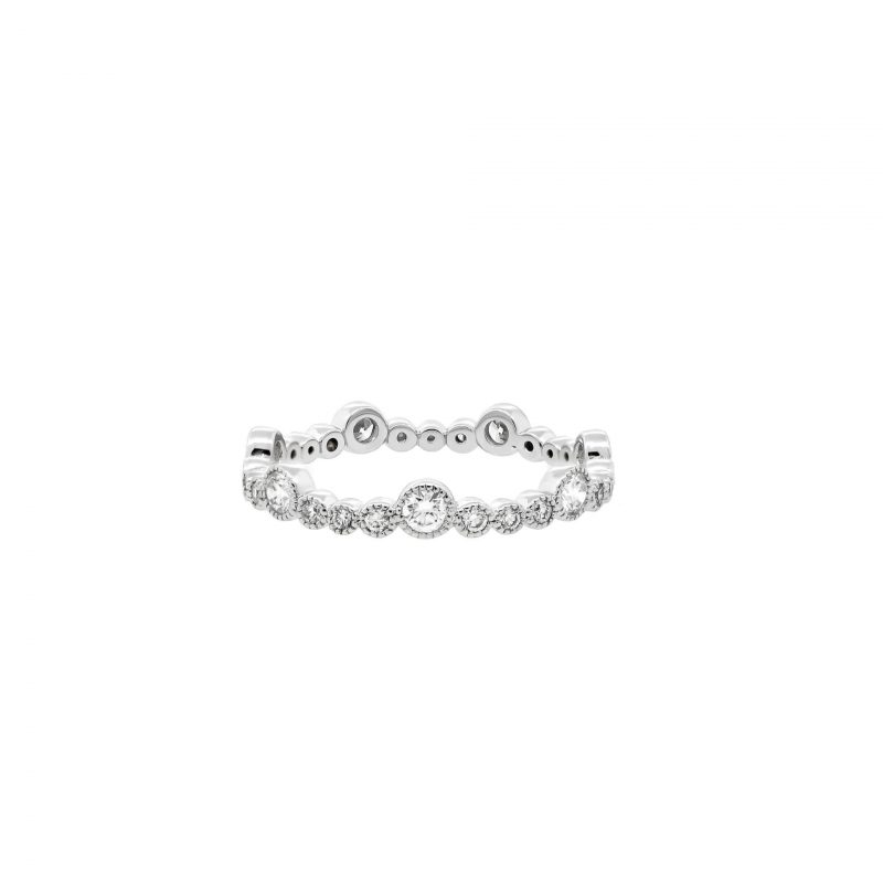 White Gold Diamond Bezel-Set Stackable Ring