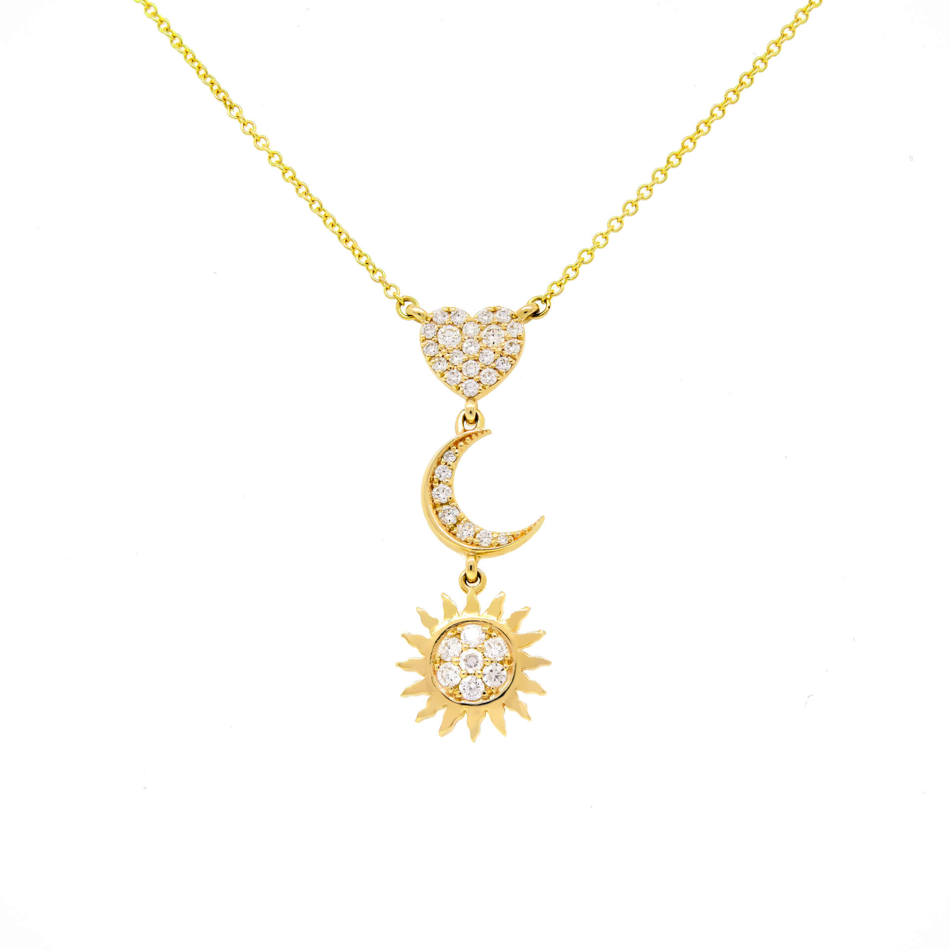 Yellow Gold Sun and Moon Necklace