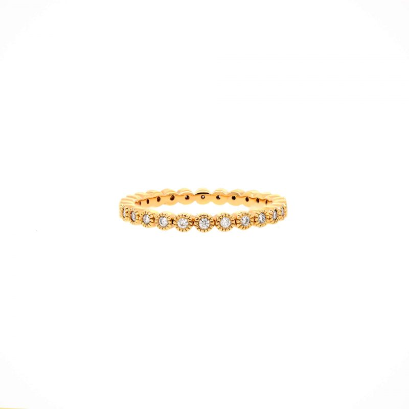 14K Rose Gold/White Gold Milgrain Bezel-Set Diamond Ring