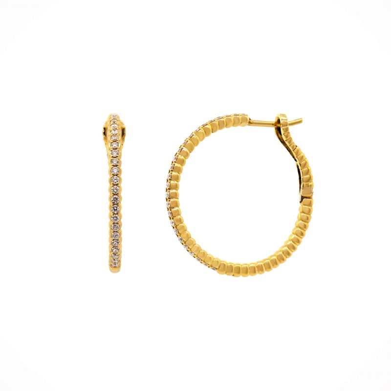Yellow Gold Diamond Beaded Hoop Earrings