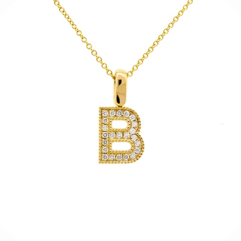 Yellow Gold B Pendant