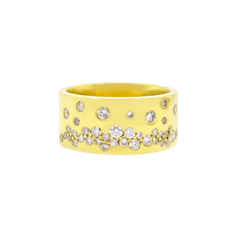 14K Yellow Gold Diamond Bubble Ring