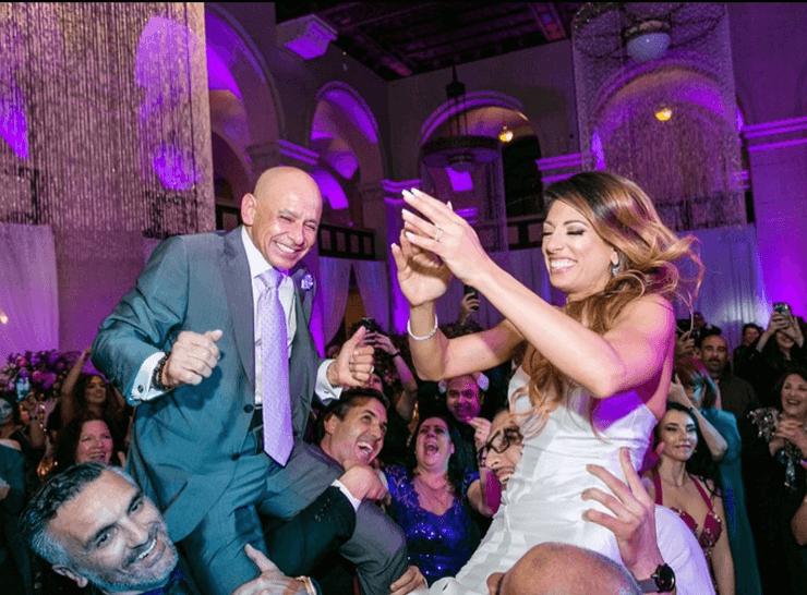 Two people dancing during wedding